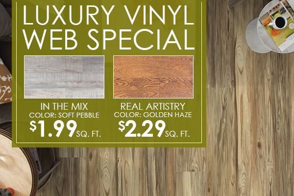 Luxury Vinyl Web Special | In The Mix - color: soft pebble - $1.99 sq. ft. | Real Artistry - color: golden haze - $2.29 sq. ft.